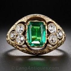 Antique Emerald and Mine-Cut Diamond Ring