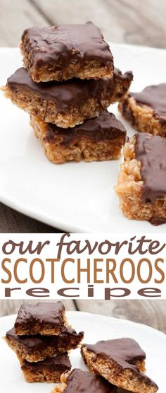 peanut butter scotcheroos. This is an easy bars recipe. Scotcheroos peanut butter chocolate dessert bar is one of the best cookie bars around. Try this recipe and you'll fall in love with Scotcheroos like we did.