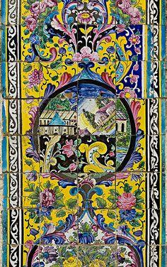 Detail of the polychrome porcelain decorations on the exterior walls of Golestan Palace. Ceramic Tile Art, Art Tiles, Mosaic Tiles, Ceramic Design, Persian Pattern, Persian Motifs, Textile Pattern Design, Pattern Art, Islamic Tiles