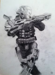 "I just finished drawing the Halo video game character ""Emile"" for my son."