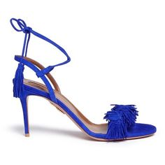 Aquazzura 'Wild Thing' fringe suede sandals ($685) ❤ liked on Polyvore featuring shoes, sandals, blue, suede shoes, bohemian sandals, boho sandals, ankle strap shoes and ankle wrap sandals