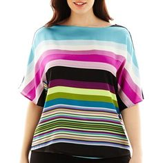 Worthington® Elbow-Sleeve Mixed-Media Top -