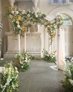 Chuppah and English Meadow Florals by Petalon Wedding Ceremony Decorations, Ceremony Backdrop, Marquee Wedding, Floral Wedding, Wedding Flowers, Aisle Flowers, Church Flowers, Floral Arch, Wedding Beauty