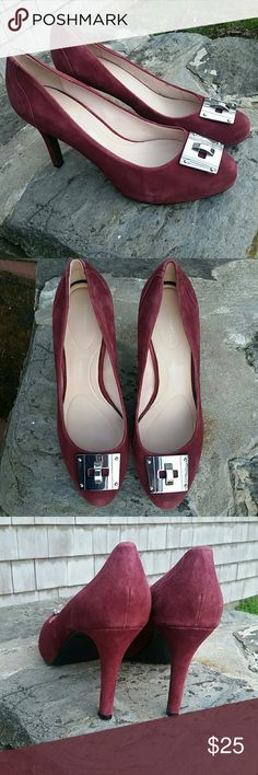 ROCKPORT SUEDE HEELS Gorgeous cranberry colored suede with silver Hardware buckle almost like new incredibly comfortable, cushion interior. 3.5 inch heels  Stunning Rockport  Shoes Heels