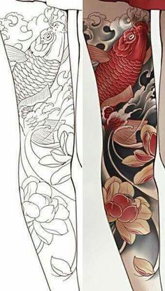 20 Ideas For Tattoo Sleeve Koi Fish Tat - 20 Ideas For Tattoo Sleeve Koi Fish Tat Best Picture For lion tattoo For Your Taste You a - Asian Tattoos, Trendy Tattoos, Leg Tattoos, Body Art Tattoos, Buddha Tattoos, Japanese Tattoo Art, Japanese Tattoo Designs, Japanese Sleeve Tattoos, Koi Tattoo Sleeve