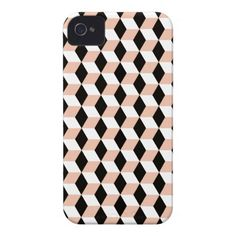 Shell, Black & White 3D Cubes Pattern iPhone 4 Cases