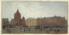 "K. Calhoun ""Copley Square with Trinity Church and the Old Museum."" Museum of Fine Arts, Boston."