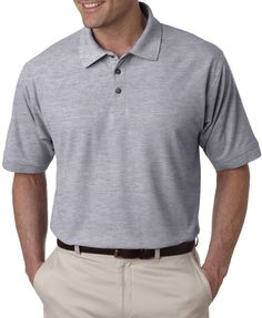 ultraclub men's tall whisper pique polo - heather grey (xlt)