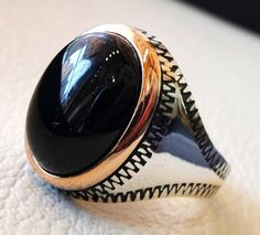 obsidian black aqeeq men ring natural stone by AbuMariamJewels