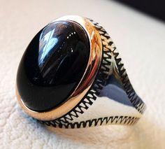 obsidian black aqeeq men ring natural stone by AbuMariamJewels