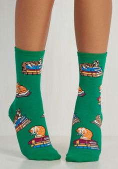 Hooked on Paw-nics Socks. Much like your favorite tale, this quirky pair is one you just cant put down! #green #modcloth