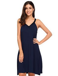 cf34510d385 Buy Womens Sleeveless Nightgown Sleepwear Summer Slip Night Dress - Navy  Blue - Shop the latest collection of Women s Sleepshirts enjoy big discount  and ...