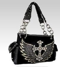 NEW Montana West Faux Leather BLING Rhinestone Cross Purse ANGEL WING Accents $42.00