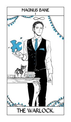 The first of 79 tarot cards made by Cassandra Jean about the Cassandra Clare's Shadowhunter series (TMI, TID, TDA, And TLH) Stunning!!! The rest along with other Shadowhunter related art can be found at http://shadowhunters.wikia.com/wiki/Cassandra_Jean (WARNING there are spoilers in the cards.)
