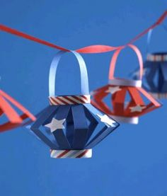 Red, white, and blue paper party lanterns