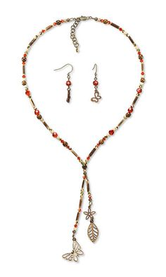 Jewelry Design - Single-Strand Necklace and Earring Set with Preciosa Czech Crystal Beads, Wood Beads and Charms and Coconut Shell Beads - Fire Mountain Gems and Beads