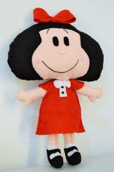 Boneca Mafalda, toda em feltro e feita a mao. handmade, mafalda, argentina, doll, felt,