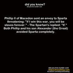This is the definition of a laconic reply/statement. Sparta is also called Laconia.