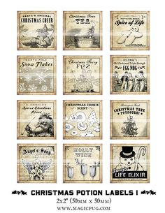 Antique Christmas Potion Labels I 2x2 inch digital collage sheet inchies 50mm square tea Frosty the Snowman cookie snowflakes angel