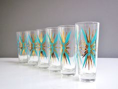 Turquoise and Gold MidCentury Starburst Tumblers by thewhitepepper, $64.50