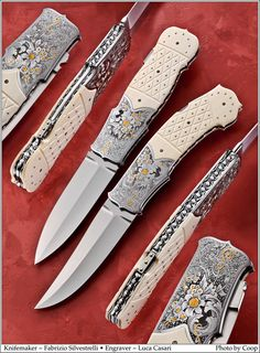 "Just in from Italian knifemaker Fabrizio Silvestrelli (Silvester Knives) is this new pair of knives engraved by Luca Casari of Beretta. I have a feeling you guys and gals are going to like these. 4"" blade length and 9 1/4"" overall"