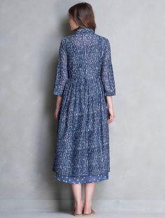 Buy Indigo Dabu Printed Chanderi Jacket and Dress with Slip & Set of 3 by Jaypore Online at Jaypore.com