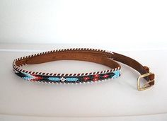 SOLD / #Vintage 1970s Southwestern / Tooled Leather & Beaded Skinny Belt by VelouriaVintage, $20.00