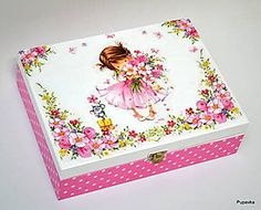 Diy Furniture Painting - New ideas Decoupage Furniture, Decoupage Paper, Painted Furniture, Diy Furniture, Girls Jewelry Box, Altered Boxes, Bottles And Jars, Tissue Boxes, Wooden Boxes