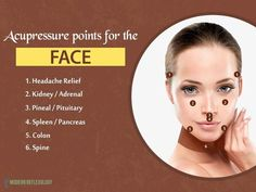 Find out these points on your face to get relief from a host of problems. acupressure Acupuncture for Migraines Acupressure Therapy, Acupressure Massage, Acupressure Treatment, Acupuncture For Weight Loss, Acupuncture Points, Acupressure Points, Massage Tips, Face Massage, Massage Therapy