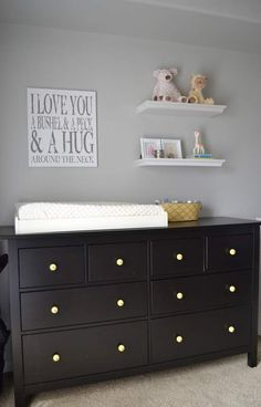 Dresser but white. Love the art above the dresser though!