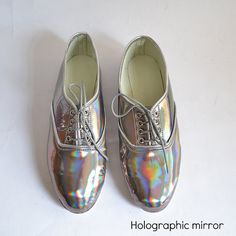 ETSY Mirrored holographic vegan faux leather pony oxford shoes (Handmade to order)