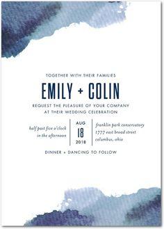 Romantic Hues - Signature White Textured Wedding Invitations - Jenny Romanski - Navy - Blue : Front