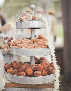 Tiers of fresh donuts for guests to snack on. Kate Whelan Events. Orange Turtle Photography.
