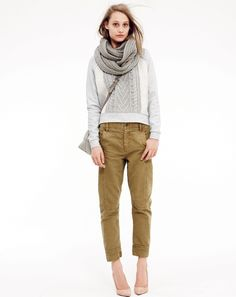 cabled pom-pom sweatshirt, seamed military pant, chunky ribbed scarf, and Elsie suede pumps.