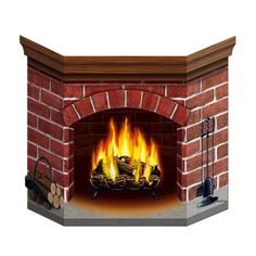 Brick Fire Place Stand Up ($5.99) ❤ liked on Polyvore featuring home, home decor, wood home decor and wooden home decor