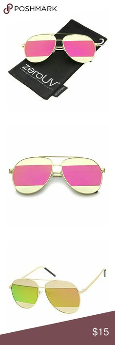 Two-Toned Matte Metal Brow Bar Color Split Mirror Stand out from the crowd with these sleek aviator sunglasses designed with a full metal frame and stylishly thin temples for minimal appeal. Accented with metal inserts for a unique horizontal design and stunning color mirror lenses for an eye-catching finish. These must-have sunglasses are the ideal combination of sophistication and luxe. ZeroUV Accessories Sunglasses
