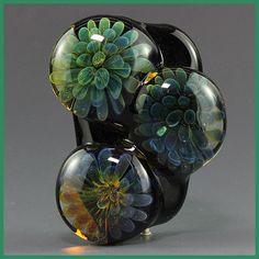 Ikuyoglassart  Handmade Lampwork Silver glass Focal Bead sra