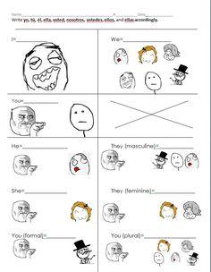 Spanish pronouns with memes. Los pronombres con memes. ¡Las cosas que hace uno por que sus estudiantes aprendan! :)