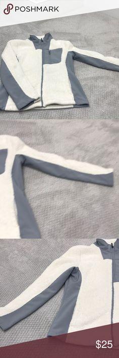 Fuzzy white jacket White fuzzy XERSION brand. Size small. White and gray. Xersion Jackets & Coats