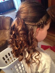 Half up Half down Updo! Prom. Daddy Daughter dance Kids Updo Hairstyles, Princess Hairstyles, Flower Girl Hairstyles, Little Girl Hairstyles, Straight Hairstyles, Daddy Daughter Dance, Father Daughter, Hair Up Or Down, Girls Braids