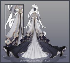 [Close] Design by Lonary on DeviantArt Dress Drawing, Drawing Clothes, Fashion Design Drawings, Fashion Sketches, Character Outfits, Character Art, Anime Outfits, Cool Outfits, Vestidos Anime