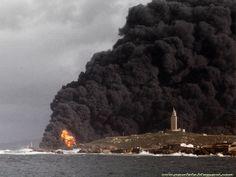 Hundimiento del petrolero MAR EGEO frente a las costas de Galicia en 1992.