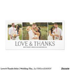 Love & Thanks Boho | Wedding Thank You Photo Card