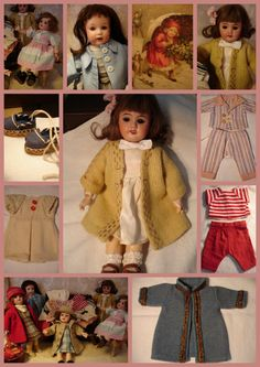 Bleuette ~ Collage of Antique Bleuette's and clothing