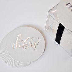 Haute Papier's silver sparkle foil stamped coasters are a lovely addition to any home and make the perfect hostess gift!