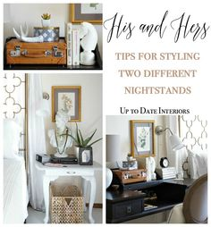 His and Hers - How to Style Different Bedside Tables - Up to Date Interiors