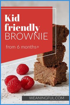 Here's a baby and kid friendly brownie recipe that uses beans as an ingredient for extra boost of nutrients that our little ones need so much when starting solids. It's suitable from 6 months as it has no refined sugar and you can subsitute the date syrup easily with mashed fruit. It's soft and not very chewy, perfect for babies with no teeth. Healthy Baby Food, Healthy Meals For Kids, Meals For One, Easy Healthy Recipes, Baby Food Recipes, Kids Meals, Baby Led Weaning First Foods, Baby First Foods, Baby Finger Foods