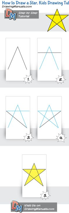 How to Draw a Star, Kids Drawing Tutorial, Step-by-Step The simplest drawing tutorial and the first thing kids learn how to draw!