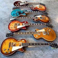 These les paul gibson are stunning Guitar Pics, Music Guitar, Cool Guitar, Playing Guitar, Acoustic Guitar, Guitar Art, Art Music, Guitar Room, Prs Guitar