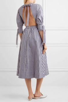 Rosetta Getty - Open-back Gingham Cotton Dress - Navy - US